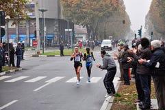 Le gagnant mâle du marathon 2010 de Turin Images libres de droits