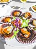 Le Galicien grillé crante avec de la salade sur le backgound blanc Festons variés ibériques Zamburiñas photographie stock libre de droits