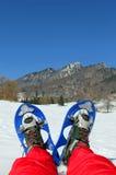 Le gambe dell'alpinista con le racchette da neve per le escursioni sulla neve Fotografia Stock