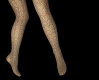 Le gambe della donna in calzamaglia del pizzo Fotografie Stock Libere da Diritti