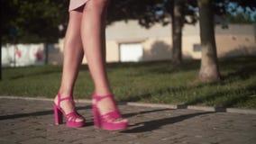 Le gambe delle donne stanno camminando nel centro della città Donna di affari che indossa le scarpe rosa con i talloni video d archivio