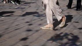 Le gambe femminili snelle in pantaloni e nei maquins beige camminano attraverso il parco un chiaro giorno soleggiato archivi video