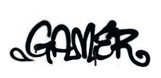 Le gamer d'étiquette de graffiti a pulvérisé avec la fuite dans le noir sur le blanc illustration stock