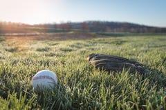 Le gant et la boule de base-ball sur le champ d'herbe dans le matin mouillent Images stock
