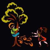 Le garçon a été effrayé d'un chiot et a grimpé à un arbre, la fille marche un animal familier gai illustration de vecteur