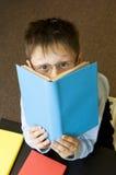 Le garçon affiche le livre. Photos stock