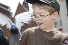 Le garçon alimente les oiseaux photos libres de droits