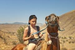 Le garçon apprivoise un cheval. photographie stock
