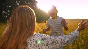 Le garçon asiatique heureux court pour étreindre son heureuse mère en belle nature de champ de blé en soleil banque de vidéos