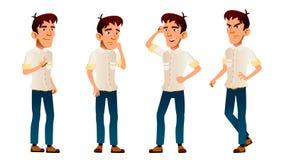 Le garçon asiatique pose le vecteur réglé Enfant de lycée Chemise blanche d'adolescent workspace Pour le Web, brochure, conceptio illustration stock