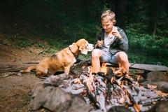 Le garçon avec le chien de briquet ont un pique-nique près du feu de camp sur la clairière de forêt Photos stock