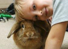 Le garçon avec le lapin images libres de droits