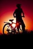 Le garçon avec une bicyclette Photo stock