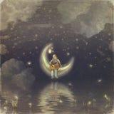 Le garçon avec une lune illustration stock
