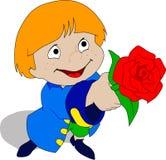 Le garçon avec une rose Photo libre de droits