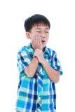 Le garçon beau asiatique a le mal de dents D'isolement sur le backgr blanc Photos libres de droits