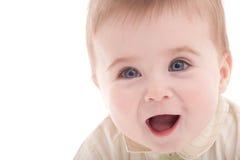 le garçon bleu de chéri observe la verticale joyeuse images stock