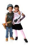 le garçon costume la fille Photographie stock libre de droits