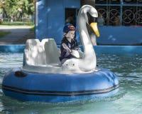 Le garçon courageux contrôlent le bateau - cygne Photos libres de droits