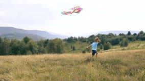 Le garçon court et lance un serpent dans le cerf-volant de montagnes clips vidéos