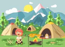 Le garçon d'illustration de vecteur chante jouer la guitare, paysage de parc national de nature, feu de tentes, poulet frit, cass illustration libre de droits