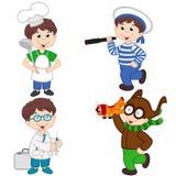Le garçon dans diverses professions font cuire, marin, docteur, pilote Photo libre de droits