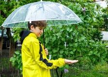 Le garçon dans l'imperméable jaune tient le parapluie transparent pendant la pluie Temps pluvieux au ressort image libre de droits