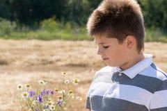 Le garçon dans le domaine d'automne images libres de droits