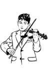 Le garçon de croquis pratique le violon illustration de vecteur