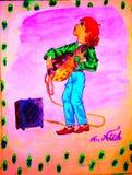 Le garçon de guitare illustration stock