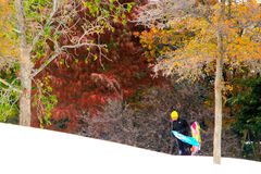 Le garçon de l'adolescence porte le traîneau et le surf des neiges vers le haut d'une colline de Milou Image stock