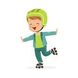 Le garçon de patinage de rouleau, enfant fait du roller dedans l'illustration colorée de vecteur de caractère Photo stock