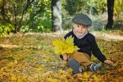 Le garçon de sourire s'assied sur le feuillage jaune avec le bou des feuilles Images stock