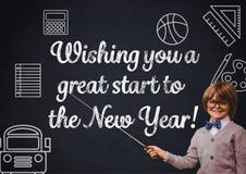 Le garçon de sourire se dirigeant au tableau noir avec la salutation de nouvelle année cite illustration de vecteur