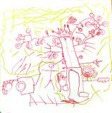 Le garçon a dessiné le robot children& x27 ; étranger de dessin de s Photographie stock libre de droits