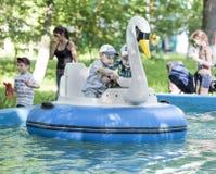 Le garçon deux gai contrôlent le cygne de bateau Photo libre de droits