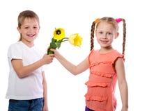 Le garçon donne à une fille des tulipes de jaune Images stock