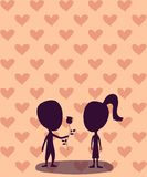 Le garçon donne une rose à une fille illustration stock