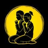 Le garçon et la fille félicitent Dieu, prière, prière chrétienne, merci un DIEU illustration de vecteur