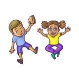 Le garçon et la fille s'asseyant sur le plancher complètent le veiw Photographie stock