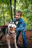 Le garçon et le sien poursuivent le chien de traîneau sur le fond des feuilles au printemps Image libre de droits