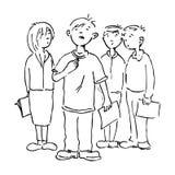 Le garçon et ses collègues illustration de vecteur