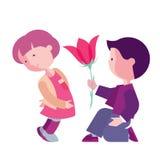 Le garçon félicite la fille Images libres de droits