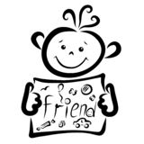Le garçon gai tient un signe avec un ami drôle de mot illustration de vecteur