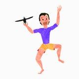 Le garçon jouant avec Toy Aircraft colorized la texture 1 Illustration de Vecteur