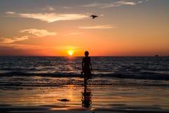 Le garçon laisse la plage au coucher du soleil photos stock