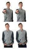 Le garçon mignon d'adolescent dans le chandail gris au-dessus du blanc a isolé le fond photos libres de droits