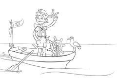 Le garçon navigue dans le bateau Photos libres de droits