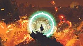 Le garçon observant la ville brûler illustration stock