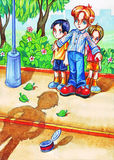 Le garçon protège ses jeunes frères contre un grand despote illustration stock